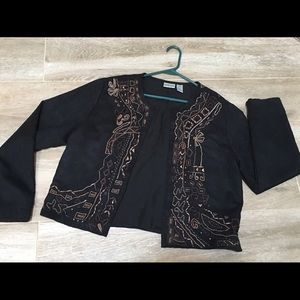Chico's Embroidered jacket size 1